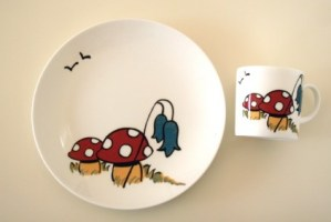 Toadstool china cup and plate set
