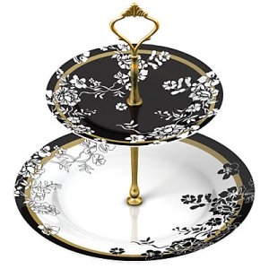 V&A brocade black and white cake stand