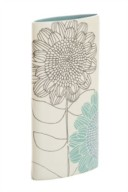 Floral teal ceramic vase from Next