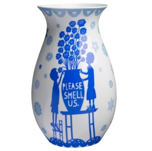 Blue and white china Rob Ryan vase