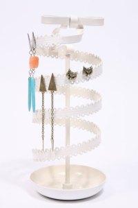 Decorative metal jewellery tidy stand