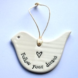East of India Follow Your Dreams porcelain bird