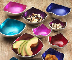 Serve nibbles in style with these recycled aluminium enamel bowls