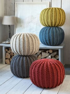 Chunky contemporary knitted poufs from Nordic House