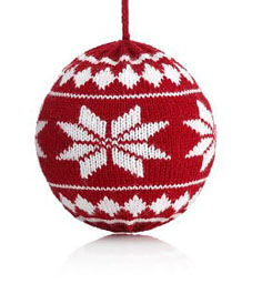 Scandinavian style knitted christmas decoration