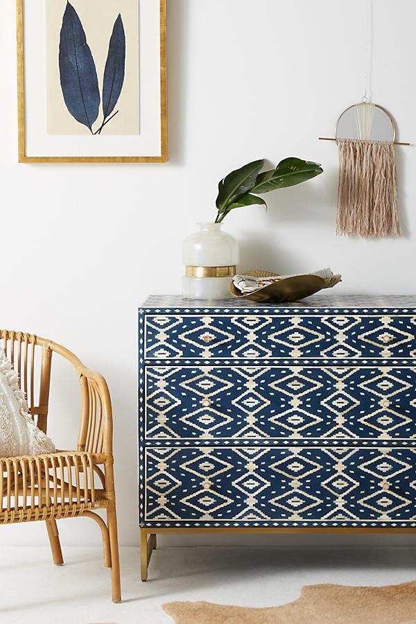 Stunning navy blue Ikat design dresser