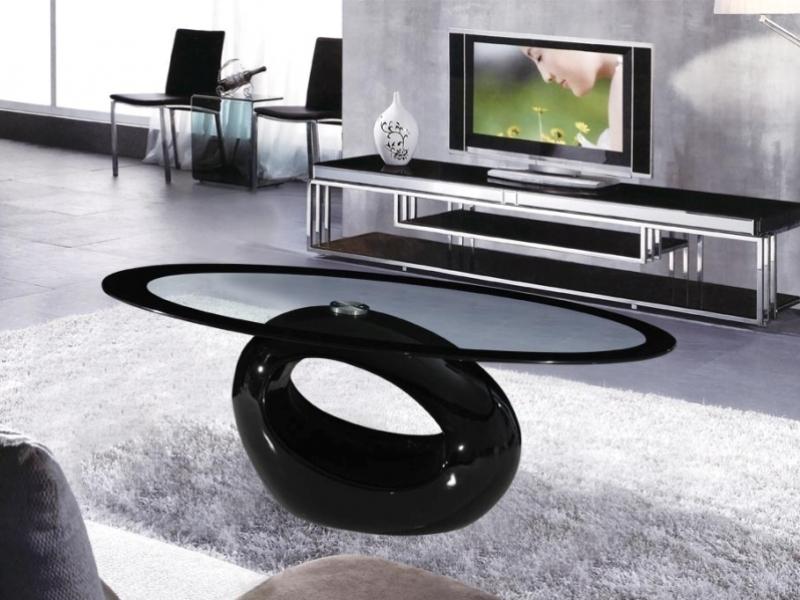 cairo oval black high gloss clear glass coffee table