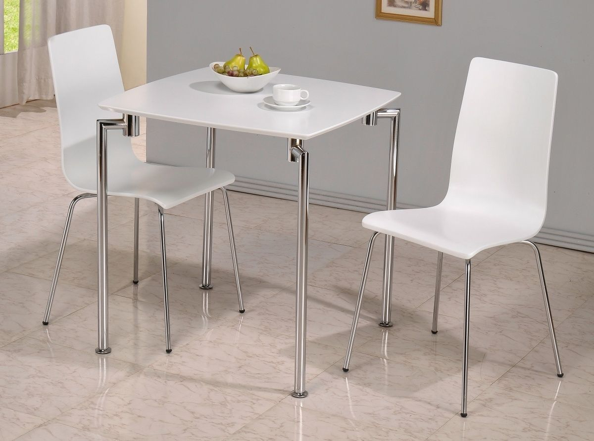 Small White High Gloss Dining Table And 2 Chairs Homegenies