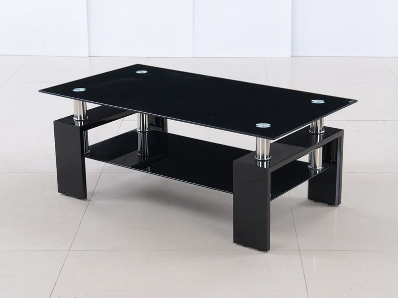 modern black glass and high gloss coffee table