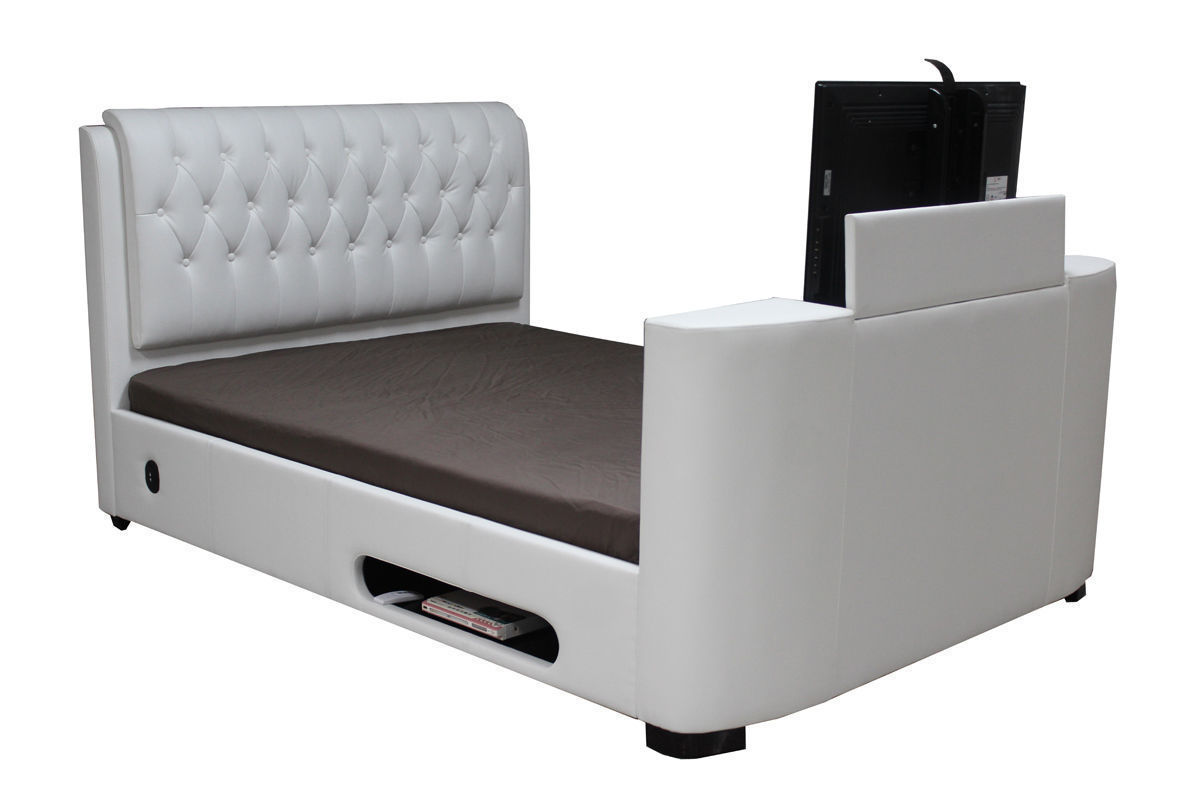 Leather Tv Bed Double King Super White Black Brown