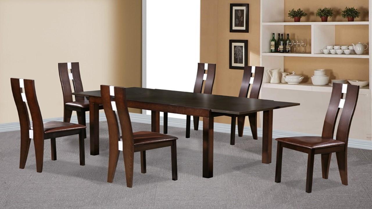 Beechwood Dining Table And 6 Chairs Dark Walnut Homegenies