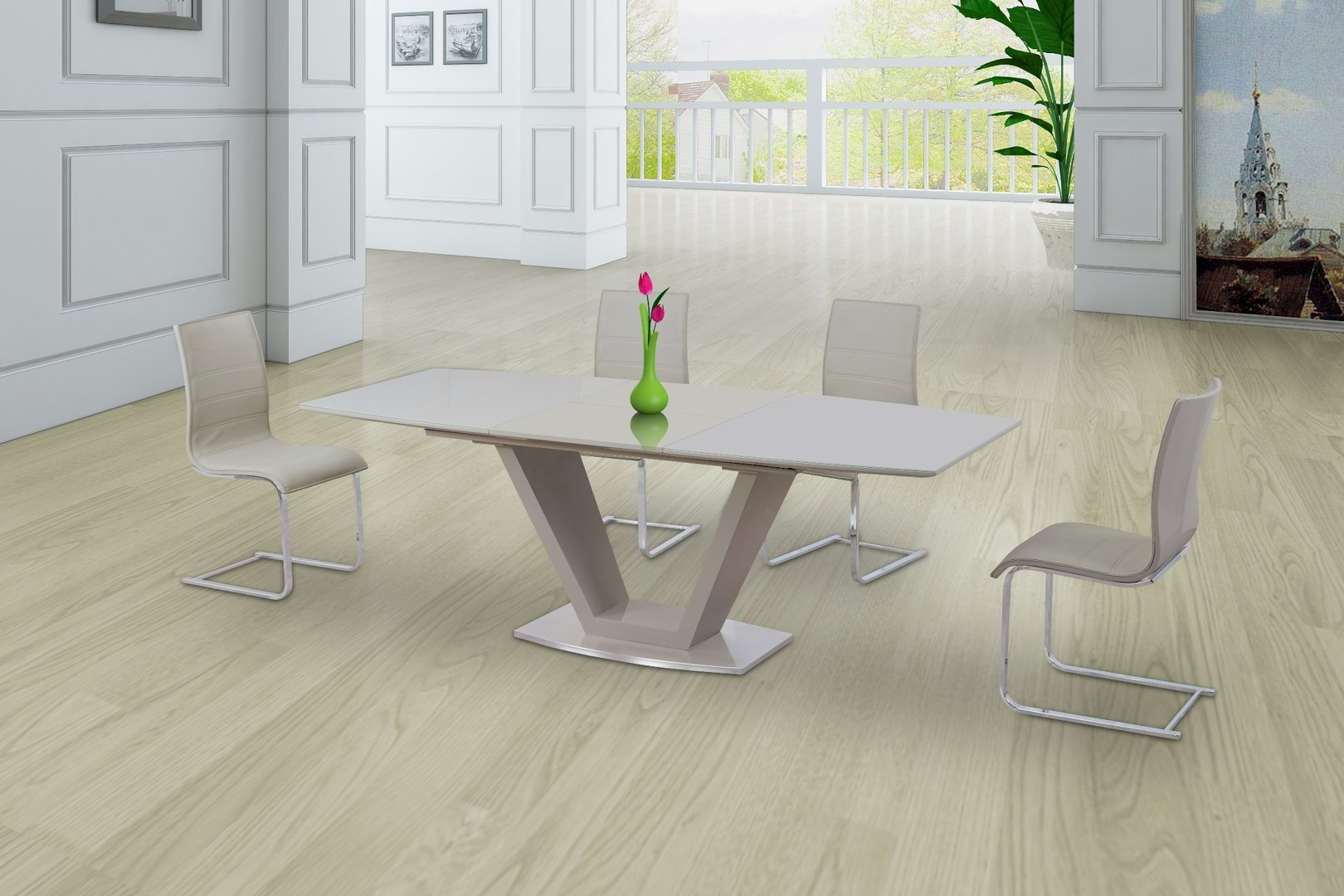 Cream Glass High Gloss Extending Dining Table And 6 Gloss