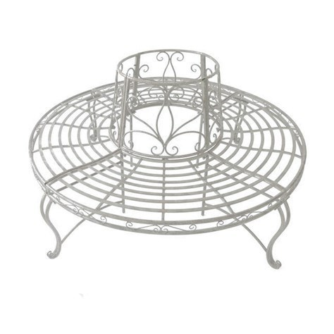 steel roundabout garden bench Cream Metal Garden Round Tree Bench - Homegenies