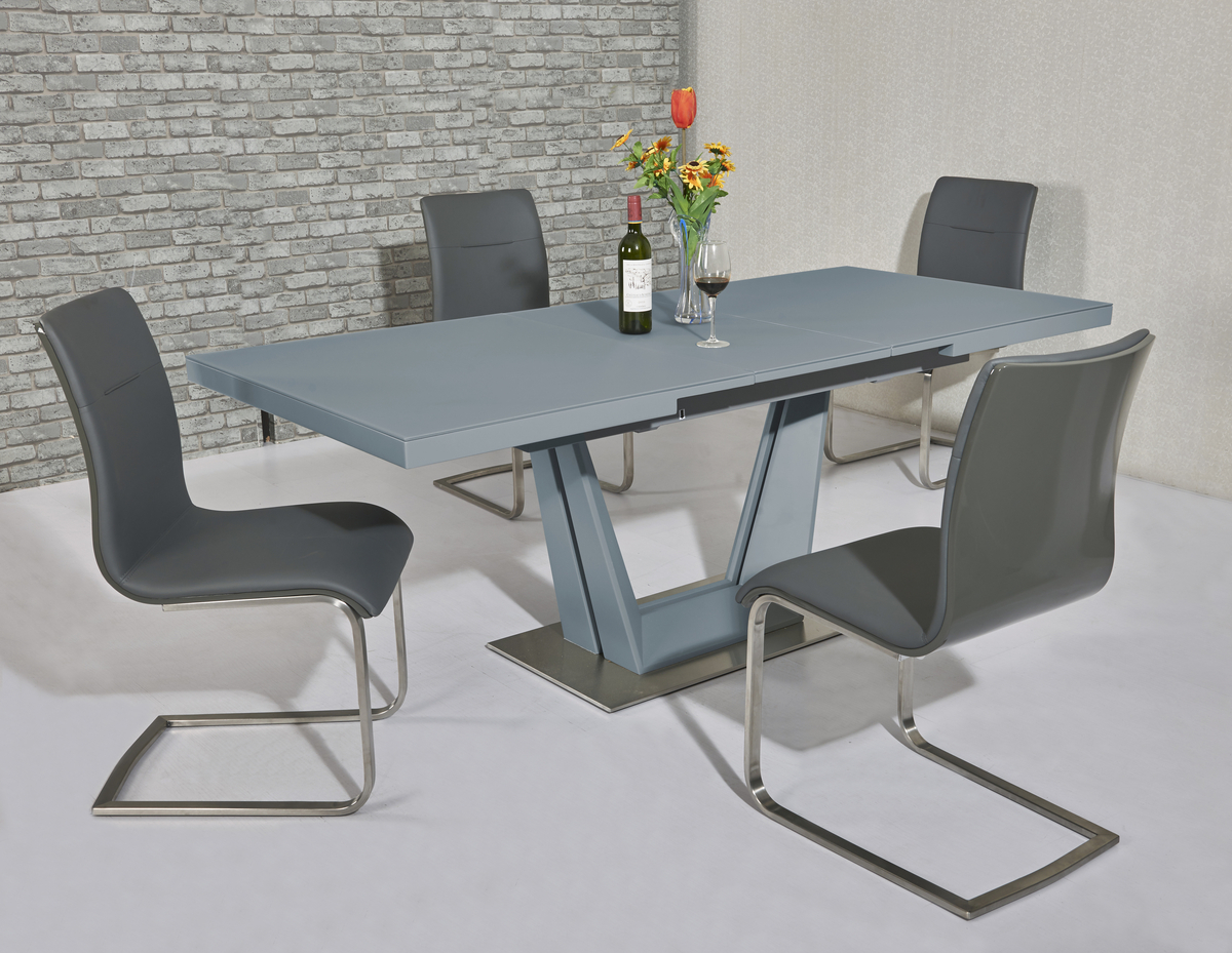 Matt Grey Glass Dining Table And 6 Grey Gloss Chairs