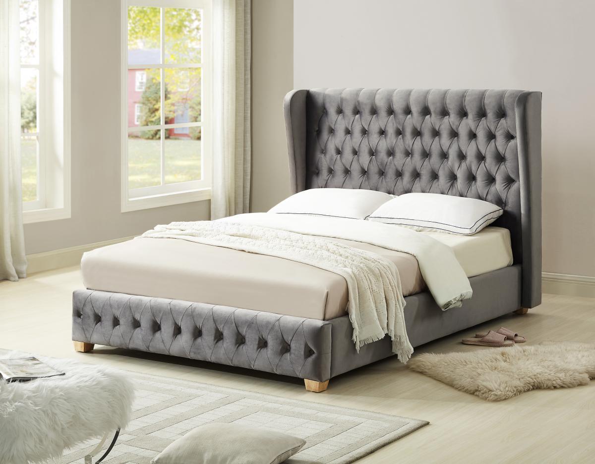 Grey Velvet High Headboard King Size Bed