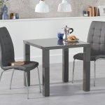80cm Dark Grey High Gloss Dining Table 2 Chairs Homegenies