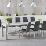 10 Seater Light Grey High Gloss Dining Table Chairs Homegenies