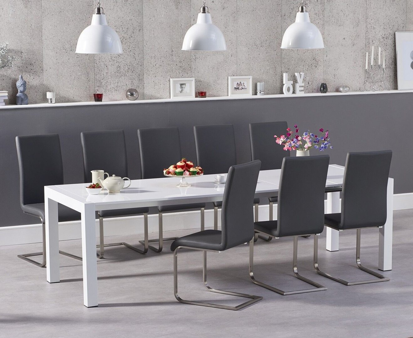 10 Seater White High Gloss Dining Table Grey Chairs Homegenies
