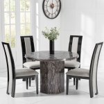 Round Grey Marble Dining Table With 4 Fabric Chairs Homegenies