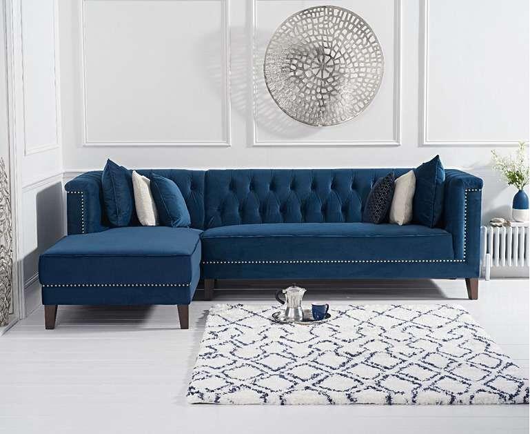 277cm blue velvet corner chaise sofa left facing