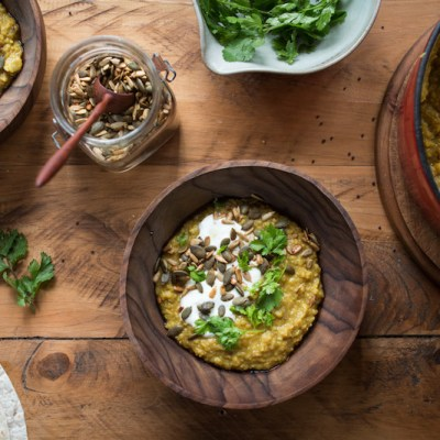 BAKED LENTIL & CAULIFLOWER DHAL with Curried Toasted Seeds