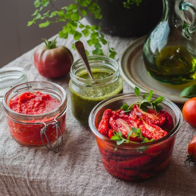 USING THE HARVEST: Semi-Dried Tomatoes, Tomato Paste & Superpower Green Sauce