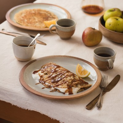 SUNDAY MORNING APPLE PANCAKES with Cinnamon Honey Caramel