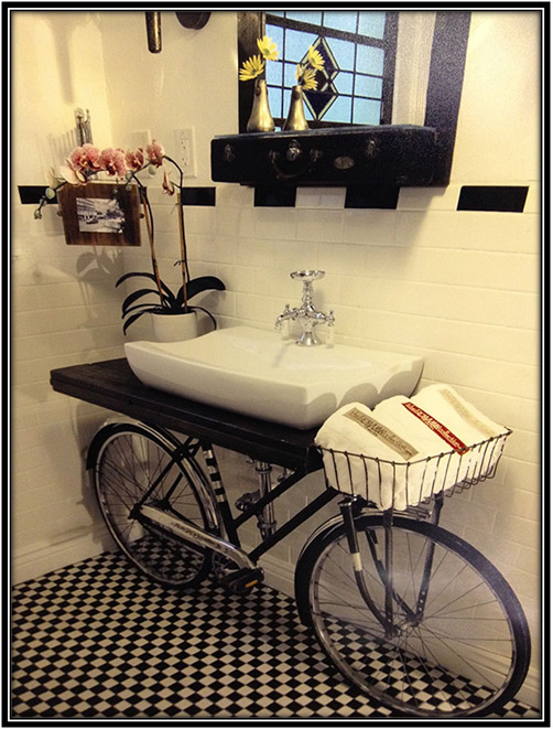 Bicycle Into Sink Stand Home Decor Ideas