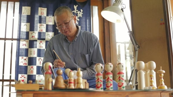Japanese Craftsman at Work - Yasuo Okazaki - carving Kokeshi dolls