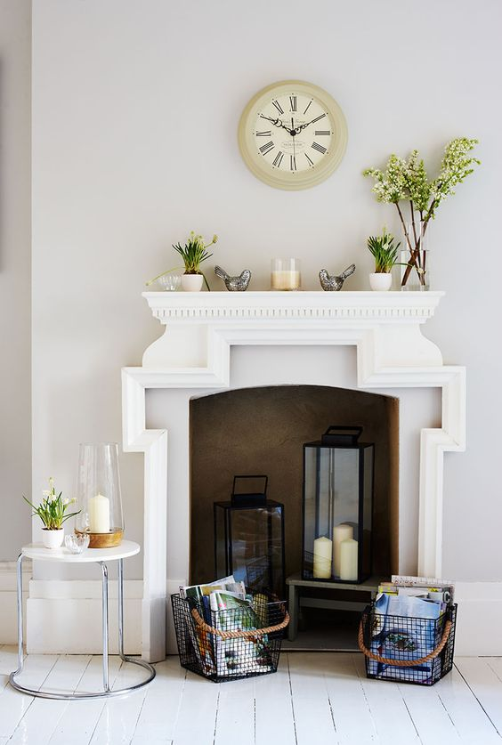 Candle holders idea for your decorative fireplace. ...