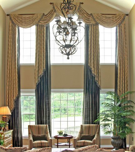 Pleated Swags And Layered Draperies Idea For Large Living Room Windows. Window  Treatments ...