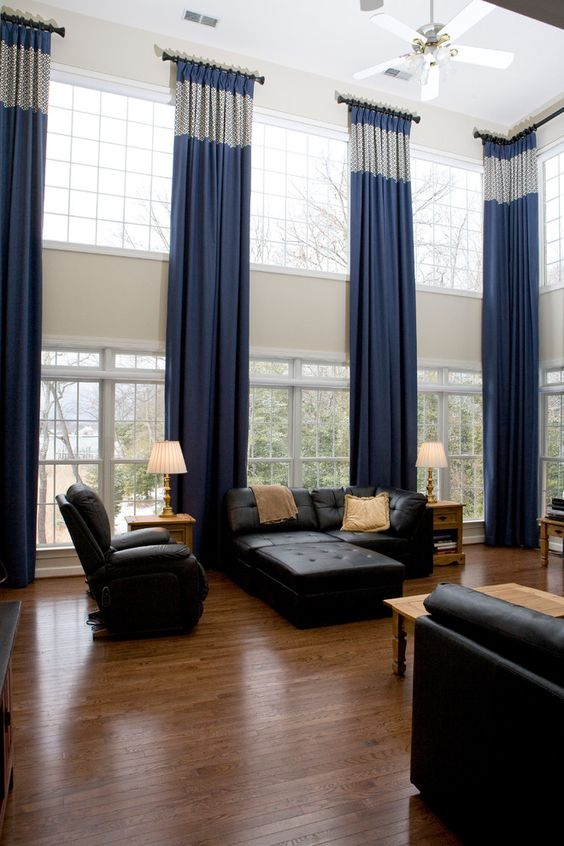 accent window treatment idea for a large living room window window treatments ideas - Window Treatment Ideas