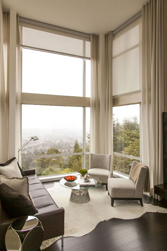 Astonishing window treatments for large windows in living - Living room picture window treatments ...