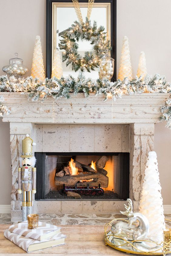 holiday fireplace mantel decorating ideas 3