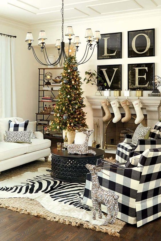 Modern Holiday Feels For A Fireplace Mantel Decorating Idea. ...