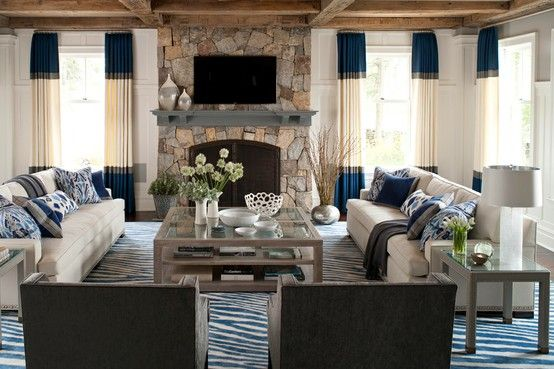 Symmetrical Living Room Layout Fireplace And TV. ...