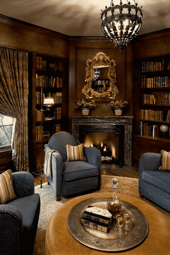 french influences for your corner fireplace