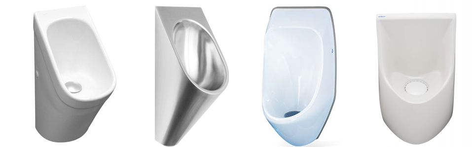 A variety of flushless urinals from different vendors...  Notice the lack of a flush handle ;^)