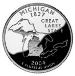 The Back of the Michigan Quarter features the Great Lakes, the largest collection of surface water on the planet.