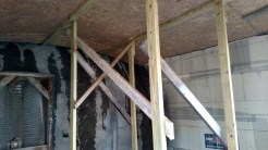 This was the minimal bracing that we put under the mudroom ceiling to provide a little extra support. I don't know that it was necessary or ever took any load, but better safe than sorry.
