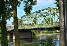 The Bridge Street Bridge in Seneca Falls, NY is a steel truss bridge that is a close match to the Bedford Falls Bridge that George Bailey jumped from to save Clarence, the angel.