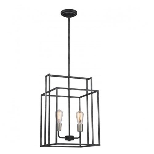 nuvo lighting 120w lake 14 square pendant light iron black 60 5857