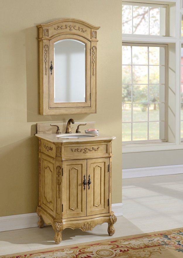 chelsea home cambridge 24-inch vanity with medicine cabinet - tan
