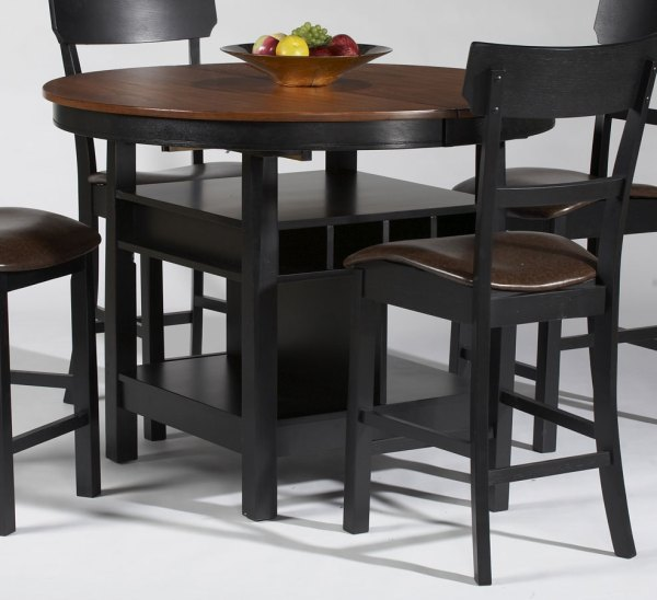 counter height storage dining table Chintaly Imports Cleo Storage Pedestal Counter Height