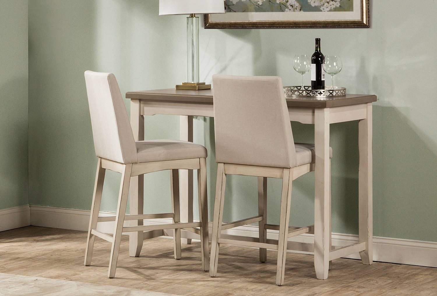 Hillsdale Clarion 3 Piece Counter Height Dining Set GrayWhite HD 4542CDT3S4 At
