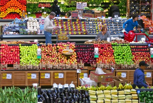 supermarket fruit and produce aisle