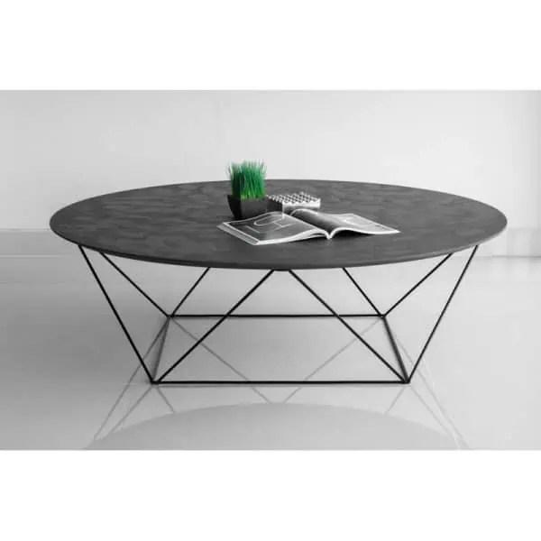 table basse industrielle look geometrique plateau effet beton cire