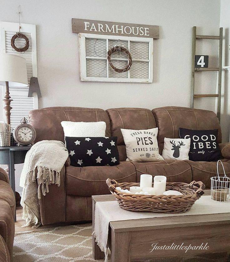 27 Rustic Farmhouse Living Room Decor Ideas for Your Home ... on Farmhouse Style Living Room Curtains  id=62263
