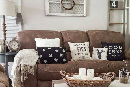 27 Rustic Farmhouse Living Room Decor Ideas for Your Home   Homelovr Brown Couch Farmhouse Living Room Decor