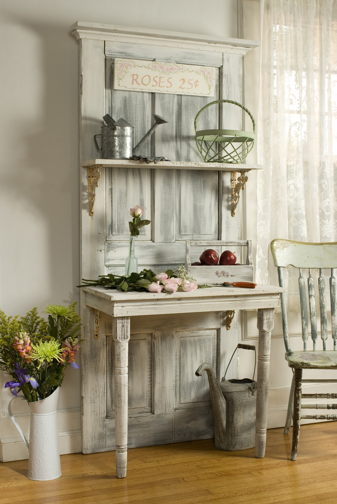 Love It Old Door Repurposed as a Desk and Shelf